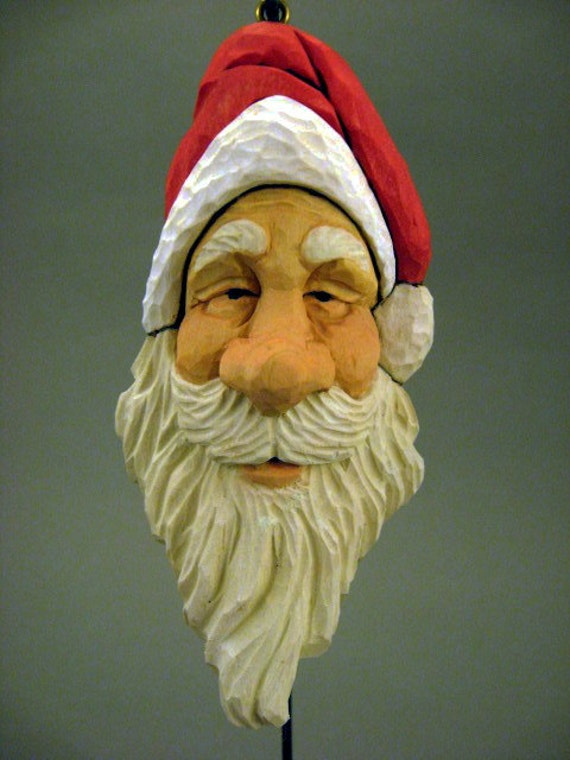 Hand carved wood santa ornament last one for