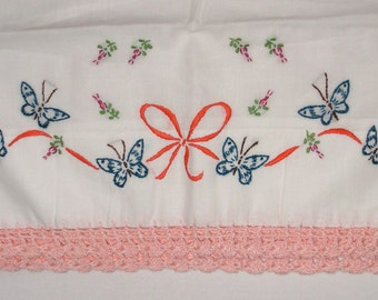 Vintage Hand Embroidered and Crochet Standard Pillow Case