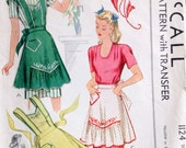 Vintage 1944 mccall's 1124 apron ruffled and embroidered size large 18-24 bust 36-38