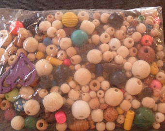 Clearance/DESTASH / WOOD BEADS/  Big lot  200  plus Wooden beads