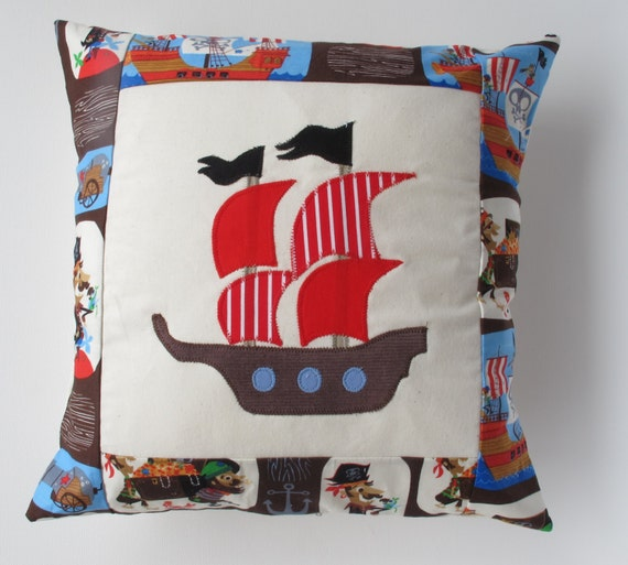Pirate themed kid 39 s cushion with pirate fabric by for Kids pirate fabric