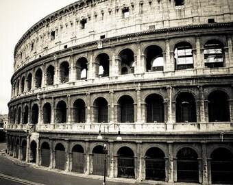 Rome Italy - Roman Forum -  Black and White Sepia - Fine Art Photograph - Roman Coliseum