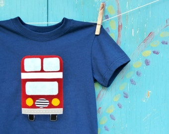 London Bus T-shirt, Double-Decker Bus Applique, Boy's Clothing, Toddler and Youth Sizes Available, MADE-TO-Order