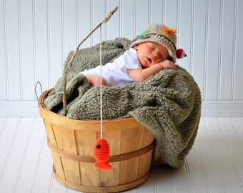 Fishing Fisherman Crochet Hat & Fish in Oatmeal and Taupe, Newborn, 0-3, 3-6, Photography Prop - MADE TO ORDER