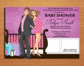 Cute Couple Baby Girl /  Baby Shower Invitation Cards / PRINTABLE / DIY
