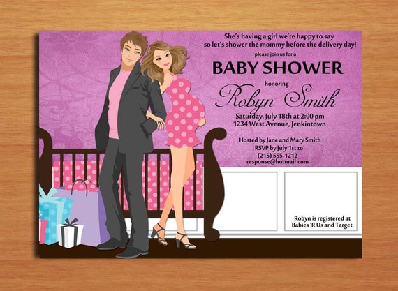 Baby Gifts For Couples : Cute couple baby girl shower invitation cards