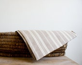 Vintage French Matress Ticking // Authentic Ticking Fabric // striped beige, white // rustic french country // - FrenchAtticFinds