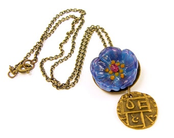 Blue Flower Necklace, Tribal Coin Necklace, Blue Brown Eclectic Brass Pendant Jewelry