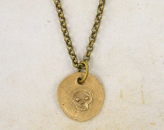 Skull Necklace, Tiny Bronze Skull Pendant Skull Charm Necklace, Gold Skull Necklace |GN1-3