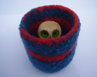 wee felted wool bowl dark  teal and clementine container