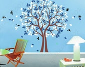love Trees Wall Decal wall sticker  flower decal room decor nature wall decor  graphic mural  -twinsTree with Birds