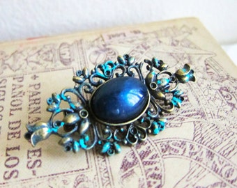 Vintage Inspired Brooch Prussian Blue Brooch Teal Turquoise Brooch Great Gatsby French Romance Shabby Chic Antique Style Patina Brooch