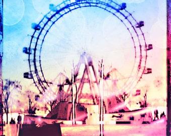 Ferris Wheel Photography, Ferris Wheel Art Vienna, Pastel Ferris Wheel Bokeh, Pink Blue, Nursery Wall Art