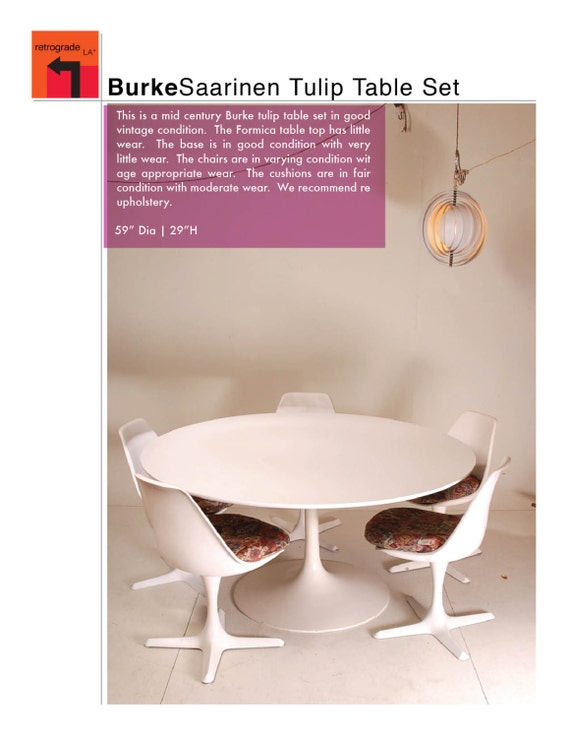 "Burke 59"" Round White Saarinen Dining Table with Tulip Base"
