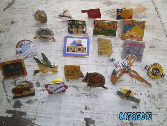 Hunting Themed Man Cave Accessories : Vintage hat pin set lot state hunting