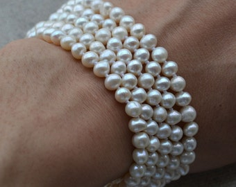 pearl bracelet - 5 Rows 7.5 inches 5-6mm ivory Freshwater Pearl Bracelet Wedding party, real pearl bracelet, off round pearl bracelet