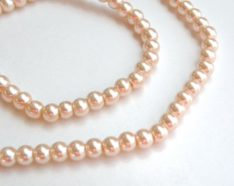 Peach glass pearl beads round 6mm full strand 7753GB