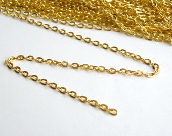 Flat cable chain shiny gold 4x3mm links 5 Feet MB0036