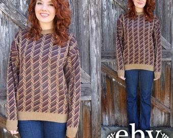 Vintage Sweater Vintage Jumper Vintage Knit Oversized Sweater Oversized Knit Vintage Beige Hippie Boho Knit Oversized Sweater Jumper S M L