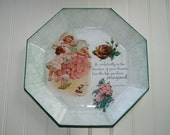 Nap Time Vintage Styling Reverse Decoupage Octagon Plate ES54903-41