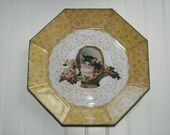 Kitten in Basket Reverse Decoupage Plate ES60231-51