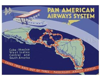 Vintage Pan American Airways Poster advert. Pan American  Sikorsky S.40 South America Routes 1931. Instant Download - Printable Poster