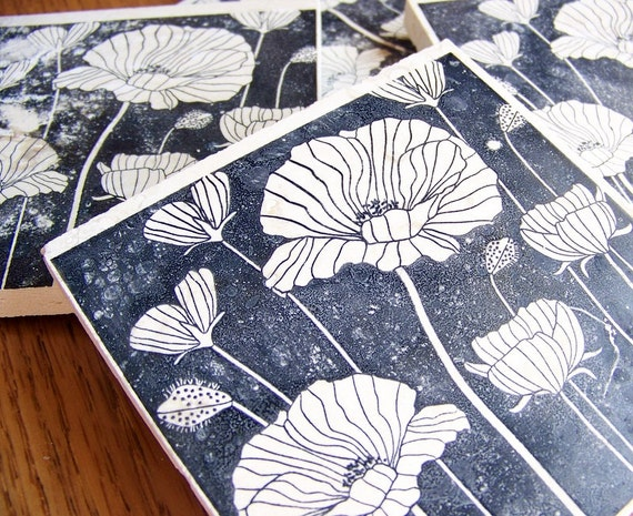 coasters, natural stone, tumbled tile, - poppies reverse silhouette,  set of 4 -