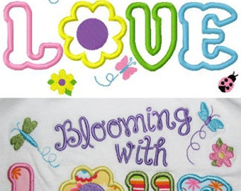 Blooming with love embroidery applique design instant digital download