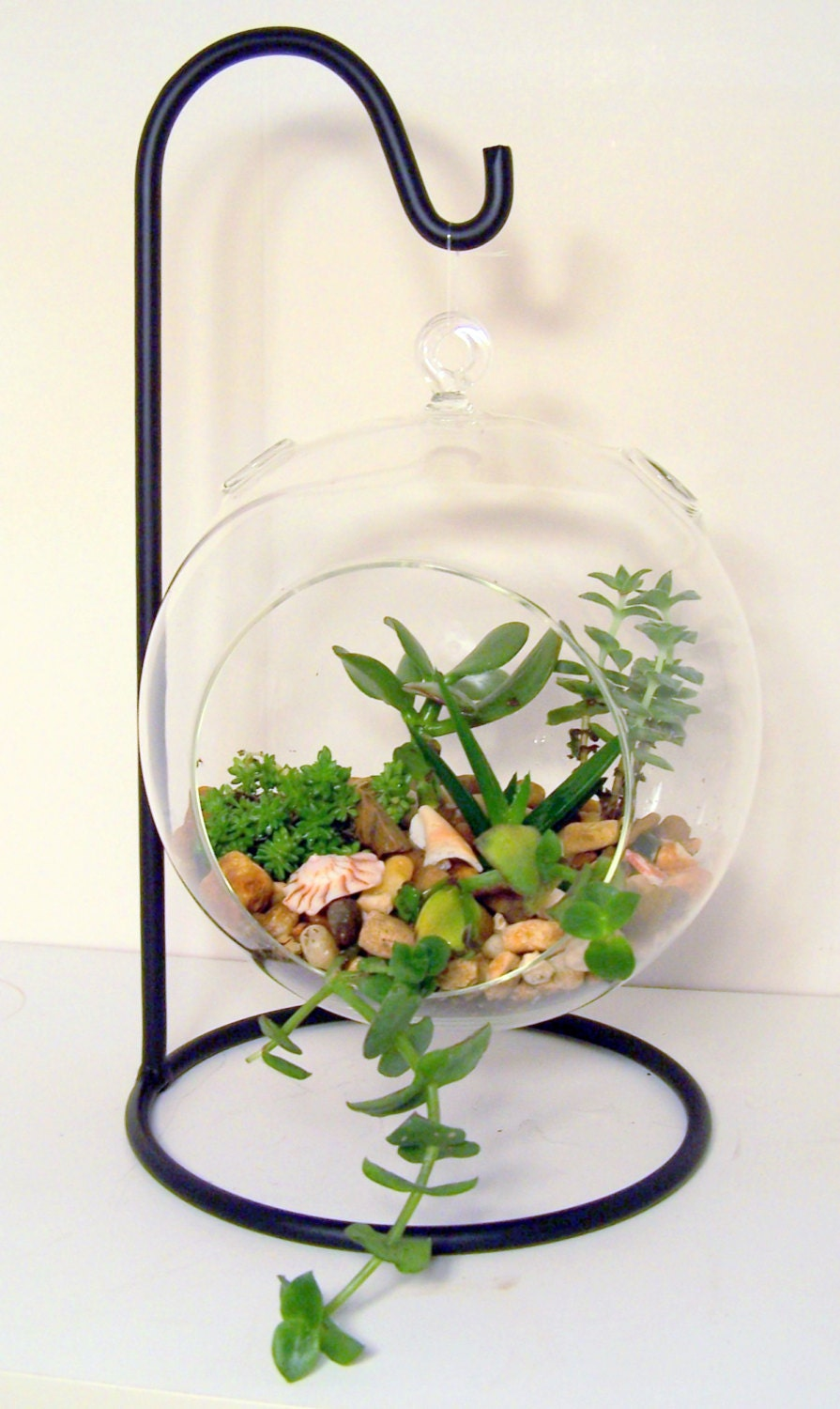 Hanging glass terrarium stand or ornament holder made of