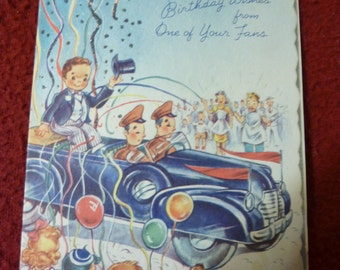 Birthday Card Vintage 1940s Car Soldiers Celebration