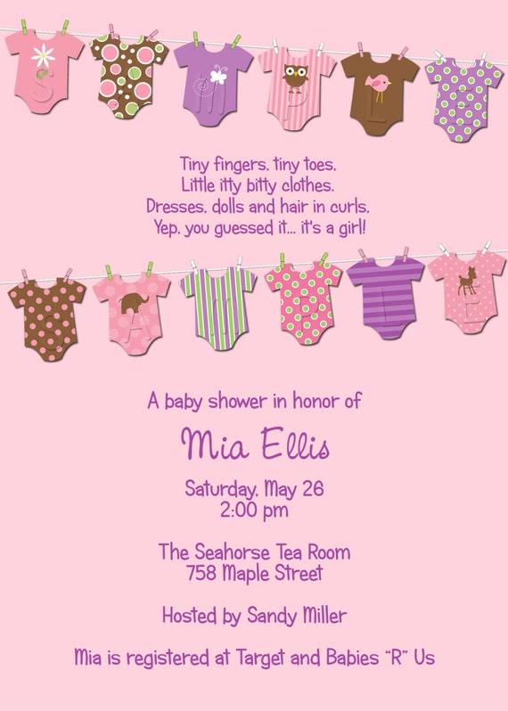 Mia Clothesline Baby Shower Invitation - GIRL - Digital File, You Print OR I Print