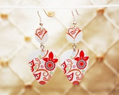 RED & PURPLES BUTTERFLY Earrings Handmade From Gift Card Upcycled Guitar Pick