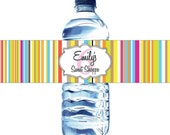 30 Candy Stripes Water Bottle Labels - Waterproof and self stick