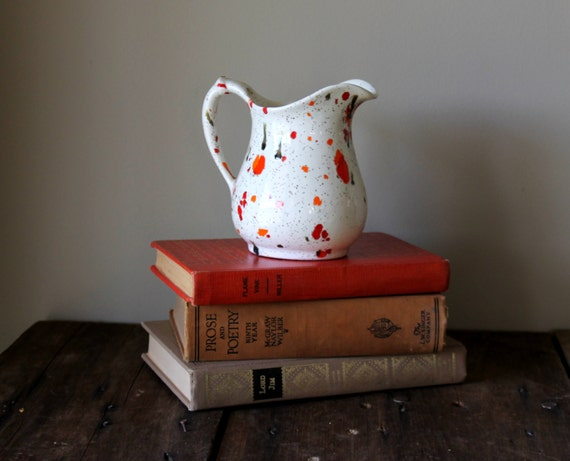 Vintage Vase Pitcher Splatter Spatter Ceramic White Orange Red Green Home Kitchen Decor Cottage Farmhouse Small