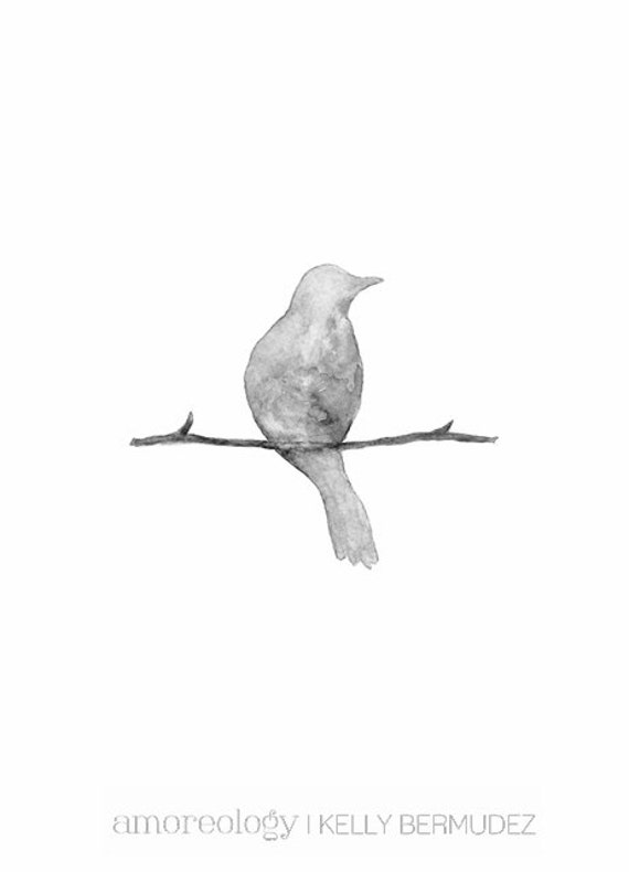 Serenity Gray Bird/ Shabby Chic / Minimal / Archival Watercolor Print