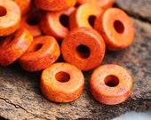 Greek Ceramic beads - Orange Sunset, speckled rondels, orange spacers, rondelle 8mm - 25pc - 0694