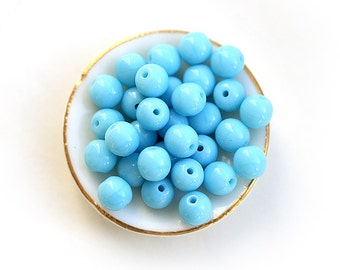 Sky blue beads, czech glass beads, round spacers, druk, blue glass beads - 5mm - 40Pc - 0537