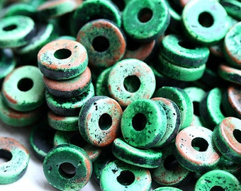 8mm Greek Ceramic beads - Pine Green and Brown washer, rondels, spacers, rondelle - 25pc - 0695