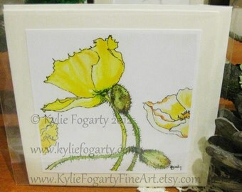 Fine Art Card, Poppy Flower, Yellow Poppy, Square Card, Botanical Flower Print, Mother's Day, Easter Card, Get Well, Blank Greeting Card
