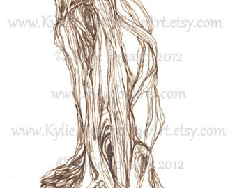 Sepia, Brown Ink Drawing - Abstract - Pen and Ink -Original - Line Art - Tree - Landscape - Nature Art