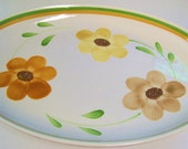 Antique VillaWare Super Large Oval Ceramic Serving Platter Made in Italy / Retro Looking Floral Platter