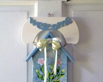 Handpainted Wooden Birdhouse Welcome Sign for Door