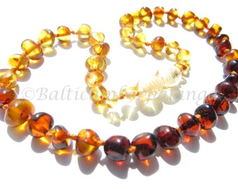 Baltic Amber Teething Necklace, Rounded Rainbow Color Beads