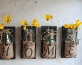 HOME Wall Decor..Set of 4...Upcycled Bottles....HOME Decor....Country Prim...Country Decor...Cabin Decor..Ready to SHIP