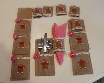 Gingerbread Silverware Holder and Napkin Rings Burlap...Country Home...Gingerbread  Decor...Country Kitchen...Ginger Lover
