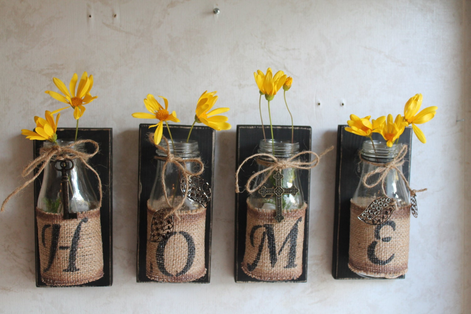 Home wall decor set of 4 upcycled bottles home for Handmade home decorations ideas