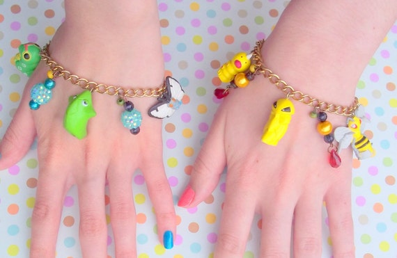 Bug Type Pokemon Fans Friendship Charm Bracelets - Caterpie, Metapod, Butterfree. And Weedle, Kakuna, and Beedrill - Jewelry