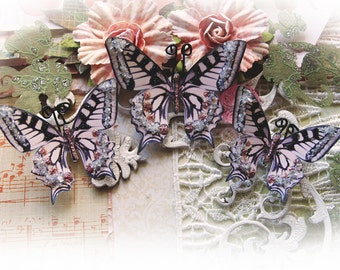 Butterfly Set - Organza Butterflies- Scrapbook Embellishment Tag Card Mini Album Wedding