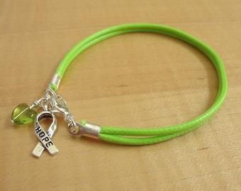 Lime Green Awareness Bracelet (Cotton) - Muscular Dystrophy, Lyme Disease, Non-Hodgkins Lymphoma, Duchenne Muscular Dystrophy DMD