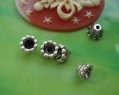 50 pcs 7x5mm Antique silver Victorian Small Flowers Beads Caps pads Torus G969312